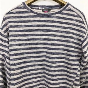 Vince Camuto Sweater Tuck Sleeves Striped Pullover